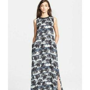 L'AGENCE  Palm Leaf Print T-Shirt Maxi Dress
